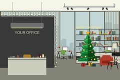 Christmas office illustration in flat style. Open space interior of office with Christmas tree, working places, bookshelf and lounge zone Royalty Free Stock Photo