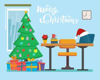 The Christmas office interior design with table, window, fir tree, presents. Freelancer, designer office workstation. Business stock illustration