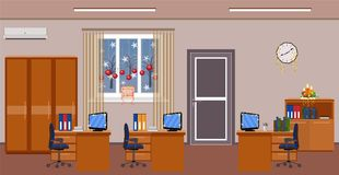 Christmas office room interior decoration. Holiday design of work spaces with winter landscape outside window. Stock Images