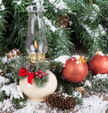Christmas Oil Lamp Royalty Free Stock Images