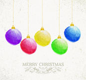 Christmas oil pastel baubles greeting card Royalty Free Stock Images