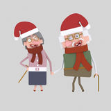 Christmas old couple . 3D Royalty Free Stock Photo