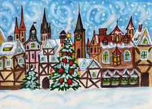 Christmas in old European town Royalty Free Stock Image
