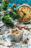 Christmas old-fashioned clock Royalty Free Stock Images