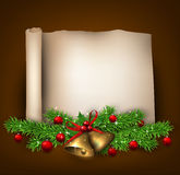 Christmas old paper background with fir twigs Stock Images