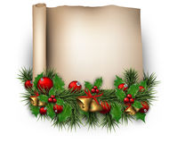 Christmas old paper background with fir twigs Stock Image