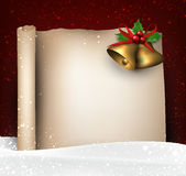 Christmas old paper background with snow Stock Image