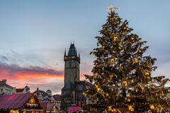 Christmas in Oldtown square (czech: Staromestske namesti) Prague, Czech Republic Stock Photography