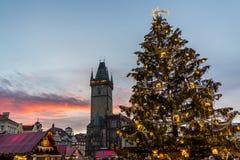 Christmas in Oldtown square (czech: Staromestske namesti) Prague, Czech Republic Stock Photography