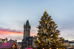 Christmas in Oldtown square (czech: Staromestske namesti) Prague, Czech Republic Stock Photo