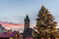 Christmas in Oldtown square (czech: Staromestske namesti) Prague, Czech Republic Royalty Free Stock Photos