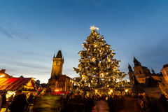Christmas in Oldtown square (czech: Staromestske namesti) Prague, Czech Republic Stock Images