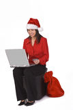Christmas online purchase. Santa's secretary is shopping online for Christmas gifts.Shot with Canon 70-200mm f/2.8L IS USM Stock Photos