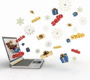 Christmas online shopping. Сoncept of Christmas online shopping. 3d illustration Royalty Free Stock Photos
