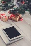 Christmas online shopping background Stock Image