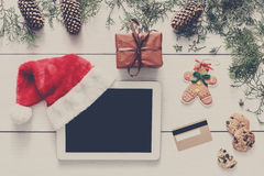 Christmas online shopping background Royalty Free Stock Photography