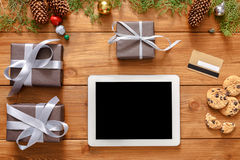 Christmas online shopping background Stock Photo