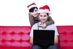 Christmas online shopping - isolated Stock Photography