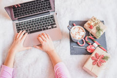 Christmas online shopping top view. Winter holidays sales Stock Photography