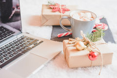 Christmas online shopping top view. Winter holidays sales stock photo