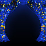 Christmas open curtain Royalty Free Stock Photo