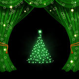 Christmas open curtain Royalty Free Stock Photos