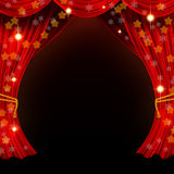 Christmas open curtain Royalty Free Stock Image