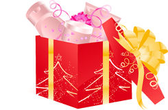 Christmas open gift with cosmetics Stock Photography