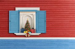Christmas open window. Christmas tree through an open blue window - rendering vector illustration