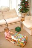 Christmas opening gift Stock Image
