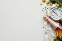 Free Christmas Or New Year Composition On White Background With Retro Alarm Clock, Bottle Of Champagne, Glasses And Christmas Stock Photo - 163961910