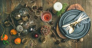 Christmas Or New Years Eve Holiday Table Setting, Top View Royalty Free Stock Images