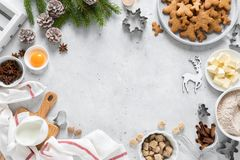 Free Christmas Or X-mas Baking Culinary Background, Cooking Recipe. Xmas, Noel Gingerbread Cookies On Kitchen Table And Ingredients Royalty Free Stock Photo - 161556625