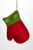 Christmas Orament Mitten with Green Trim Stock Photography