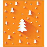 Christmas orange background with snowflakes and trees Royalty Free Stock Image