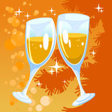 Christmas orange background with two glasses. Champagne Royalty Free Stock Photos