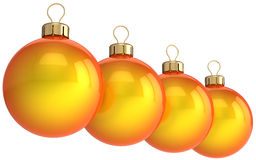 Christmas orange balls (Hi-Res). Four orange shining christmas balls (baubles). This is a detailed 3D render. Isolated on white Royalty Free Stock Photos