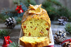 Christmas orange cake with dried apricot. Royalty Free Stock Images