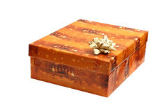 Christmas orange gift box Stock Photo