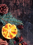 Christmas Orange with Spruce and Pine Corn Decor Stock Image