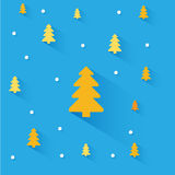 Christmas orange trees on blue background Stock Image