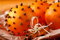 Christmas oranges Stock Images