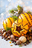 Christmas oranges,spices and nuts Stock Photo