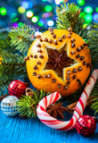 Christmas oranges,spices and nuts Royalty Free Stock Photography