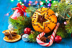 Christmas oranges,spices and nuts Royalty Free Stock Photo