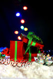 Christmas orbs. De-focused orbs floating out of box Royalty Free Stock Images