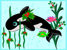 Christmas Orca and Fish Friends Stock Photo