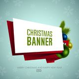 Christmas origami banner with Christmas balls. Happy New Year Royalty Free Stock Images