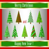 Christmas origami decoration tree. Vector illustra Royalty Free Stock Images