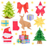 Christmas origami isolated on white Stock Photography